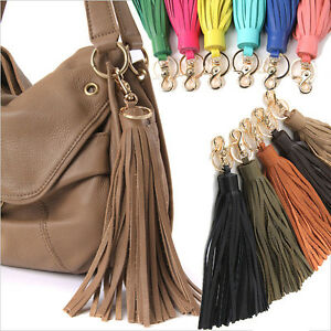 WOMEN-039-S-HANDBAG-ACCESSORIES-POCKY-PLAYFUL-TASSEL-CHARM-GENUINE-COWHIDE-LEATHER
