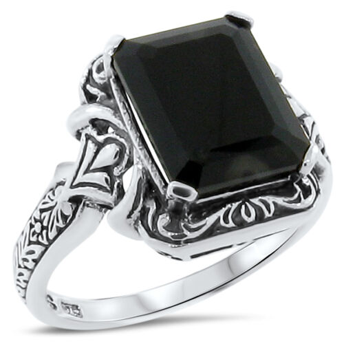 GENUINE BLACK AGATE ANTIQUE DESIGN .925 STERLING SILVER RING,       #171