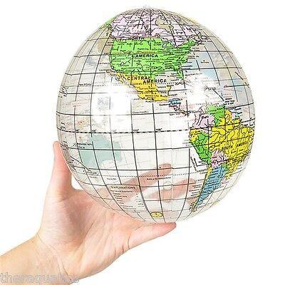"12"" INFLATABLE GLOBE BALL GEOGRAPHY World Map Travel Pool Ga"