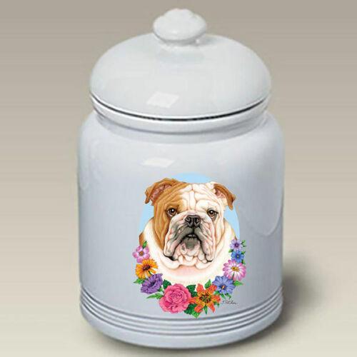 Bulldog Fawn & White Treat Jar
