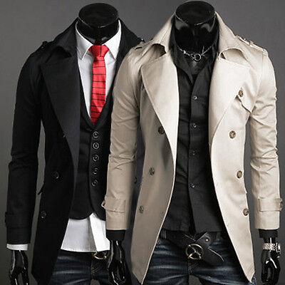 Fashion Mens Trench Long Coat Double Breasted Pea Coat Winter Jacket Overcoat