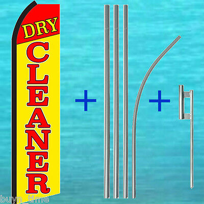 Dry Cleaner Flutter Feather Flag 15 Tall Pole Mount Kit Swooper Bow Banner