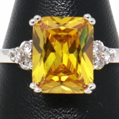 Gorgeous Yellow Citrine Ring Women Engagement Jewelry 14K White Gold Plated