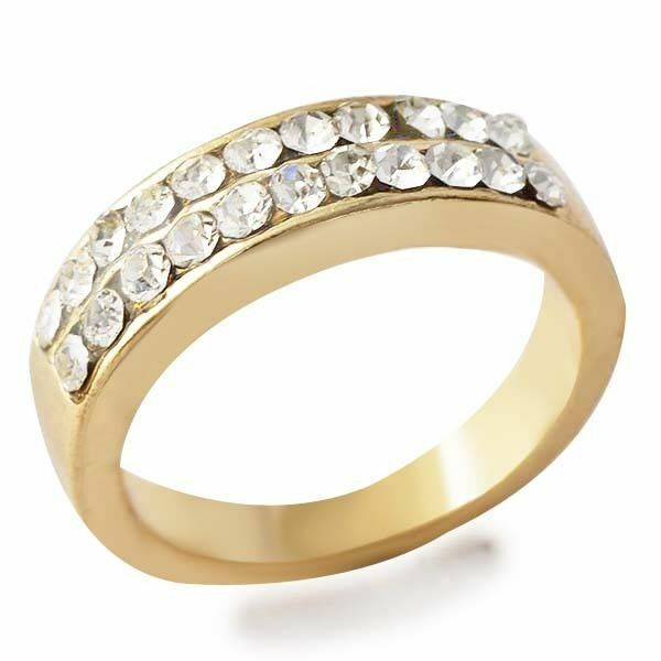 D4666 Posh Womens Yellow Gold Filled 2 row Clear CZ Band Ring Sz