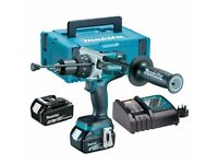 Makita q Brushless Combi Drill with 2 x 5 A Batteries and Charger
