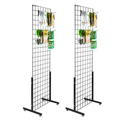 2 Pack Display Grid Rack Mesh Frame T-type Base Hanging Hooks Wall Stand Retail