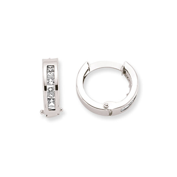 0e5c2e10eeea3 Details about 9CT WHITE GOLD CZ HOOP CUBIC ZIRCONIA HUGGIE CRYSTAL CUFF  ETERNITY EARRINGS BOX
