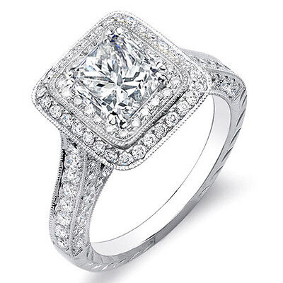 2.00 Ct. Princess w/ Round Cut Dual Halo Diamond Engagement Ring F,VS1 GIA 14K
