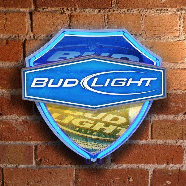 Budweiser Bud Light Shield Wall Neon Sign Light Lamp