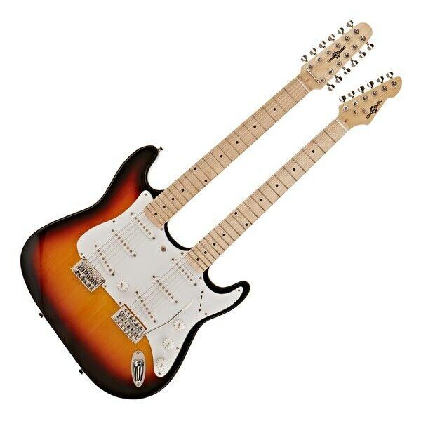LA Double Neck Guitar by Gear4music Sunburst