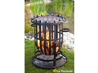 Firepit BBQ Fire Basket with chrome cooking grill BNIB