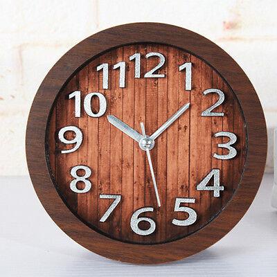 Desktop Clocks Vintage Alarm Clock Wooden Watches Silent 3d Silver Sticker Wood