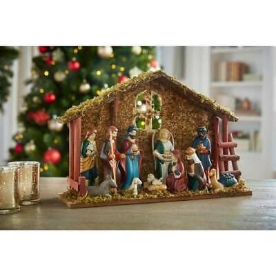 13 Piece Porcelain Nativity Set Crèche Stable Wisemen Mary