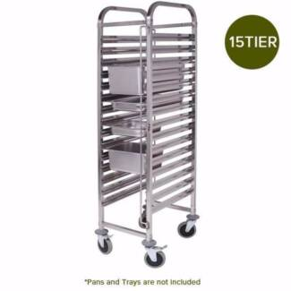 SOGA Stainless Steel Gastronorm Bakery Trolley Suits GN 1/1 Pans