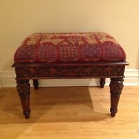 Bombay Company carved wooden ottoman / bench