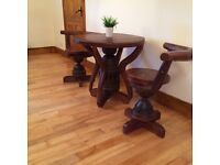 Beautiful Hand made Solid Wood Table + 2 Chairs