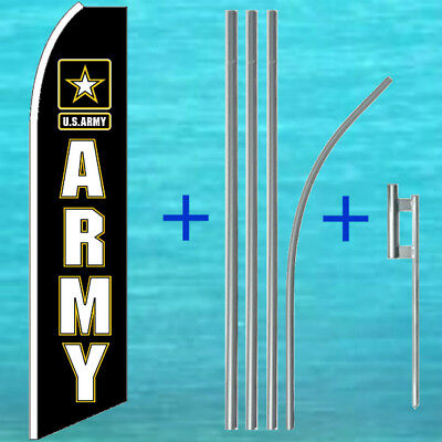 U.s. Army Flutter Flag Pole Mount Kit Tall Curved Top Feather Swooper Banner