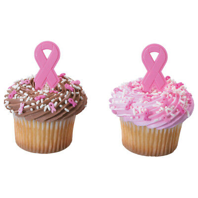 Pink Ribbon Breast Cancer Awareness cupcake picks (24) favor cake topper 2 doz - Breast Cancer Cupcakes