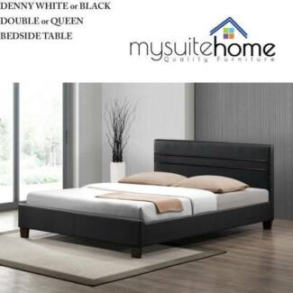 DANDENONG Denny White/Black Leather Double/Queen Size Bed
