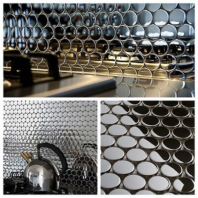 Stainless Backsplash - Penny Round Mirror Stainless Steel Metal Mosaic Tile For Kitchen Backsplash