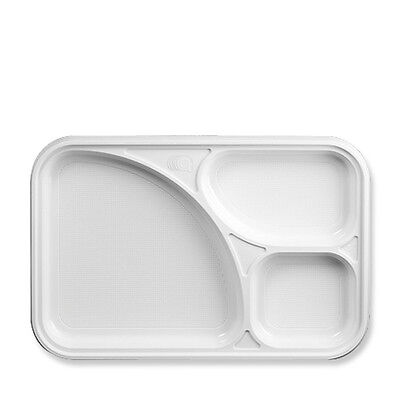 50 Piatti vassoi bianchi  3 scomparti  monouso in plastica - usa e getta ARISTEA