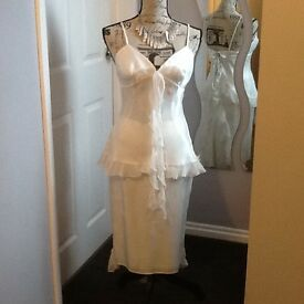Two piece sateen special occasion outfit by Dawn Stretton, size 10