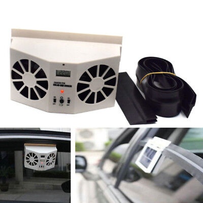 1XSolar Powered Car Front/Rear Window Air Vent Cool Cooler Dual Fan Radiator ()