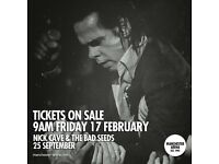4x Nick Cave & the Bad Seeds standing tickets, Manchester Arena, Monday 25th September 2017