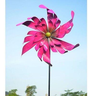 "WINDRAD pink ""SHINY"" 47 x 15 x 172 cm Windspiel Metall  Garten Deko #2366"