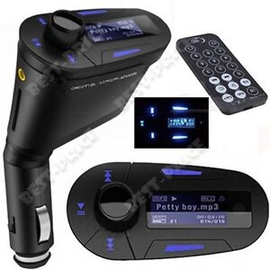 Blue Car Kit MP3 Player Wireless FM Transmitter Modulator USB SD MMC LCD Remote