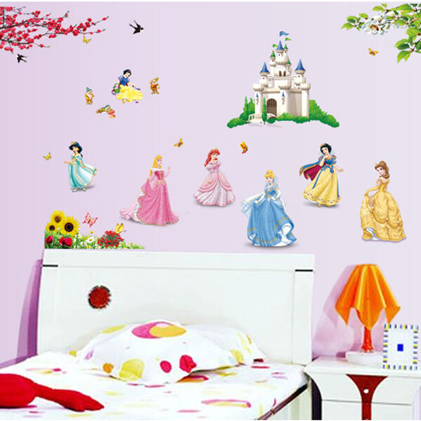 Removable Princess Castle Girls Birds Wall Stickers Decal Nursery Decor