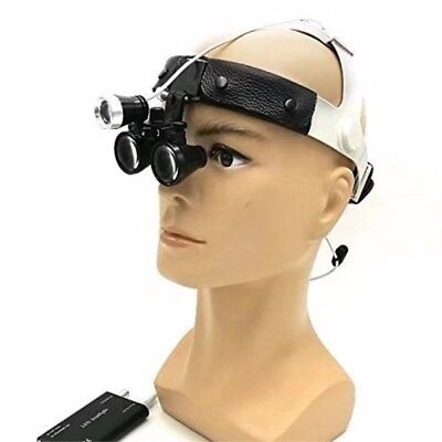 Dental 3.5x Binocular Loupes Leather Headband Magnifier With 3w Led Headlight