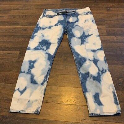 DIESEL men's d-jifer bleach stain jeans, blue, SIZE 34, New w/tags