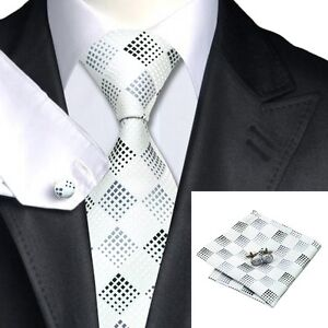 SN-355 Men's 100% Jacquard Woven Silk Neckties Tie+Hanky+Cufflinks Sets Free S&H