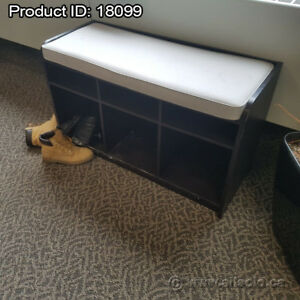Espresso Storage Hallway Bench with Cushion Seat