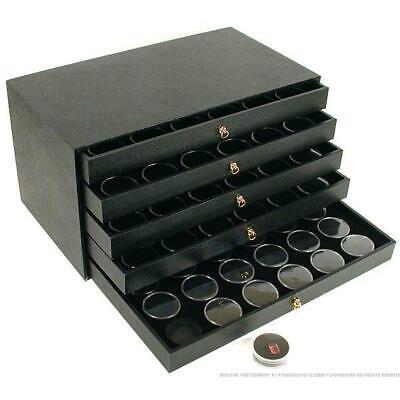 120 Black Gem Jars & Jewelry Storage Case Display