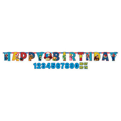 SUPER MARIO BROS Happy Birthday BANNER Party Wall Decoration PERSONALIZE AGE  - Super Mario Banner