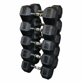 *SALE* Brand New - 10kg - 35kg Full Set Premium Black Rubber Hex Dumbbells - Weights Gym