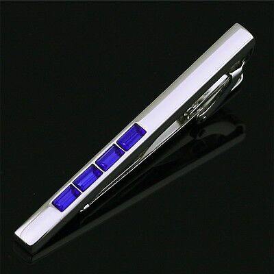 LJ-302Stainless Steel Austrian crystal Tie Clasp Clip Bar Gift Box FREE SHIPPING