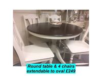 Extendable round table and 4 chairs , shabby chic