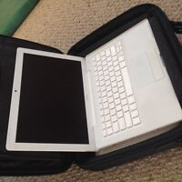 MacBook ALL white laptop with case