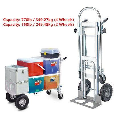 3-in-1 Aluminum Hand Truck Foldable Dolly Cart 2 Or 4 Wheel 770lbs Heavy Duty