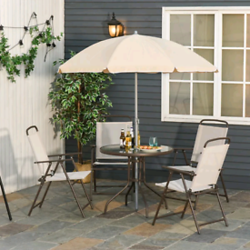 Outdoor garden patio set table chairs and parasol can deliver