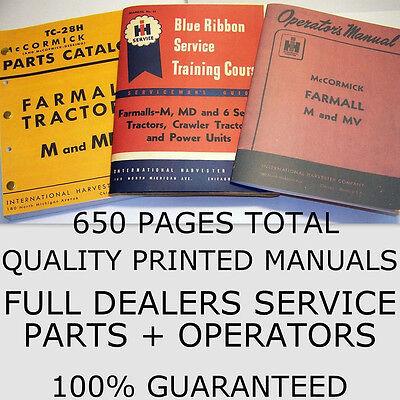 3 Farmall M Mv Service Parts Operators Manuals Owners Service International Ih
