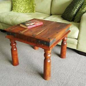 Coffee Side Table Solid Hardwood Wrought Iron Hardware Rustic Coogee Eastern Suburbs Preview