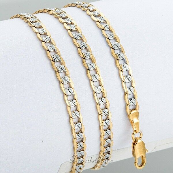 "Silver Gold Filled Chain Women Men Necklace Hammer Curb Cuban Link 4mm 22-36/"""