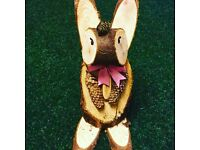 Hand made wooden garden rabbit