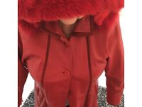 Coat - Red Leather with lining size 14