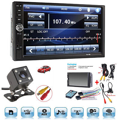 "12V 7"" In Screen FM Bluetooth Radio Audio Stereo Car Video Player+HD Camera"