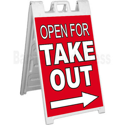 Open For Takeout A-frame Sign Signicade Sidewalk Pavement Banner Street Sign Rb